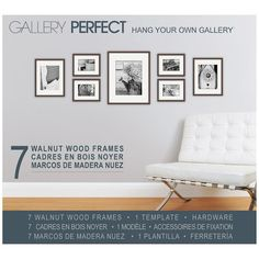Gallery Perfect 7 Piece White Photo Frame Gallery Wall Kit with Decorative Art Prints & Hanging Template Size: x Wall Frame Set, Picture Frame Sets, Picture Wall, Picture Ideas, Gallery Wall Frames, Frames On Wall, Gallery Walls, Wood Frames, Houses