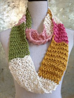 Handknit Color block Infinity Scarf  by IndustrialWhimsy on Etsy,