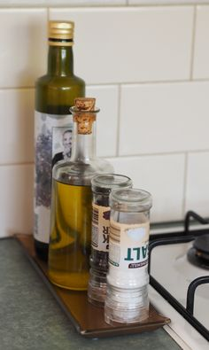 Use a tray to organise your go-to products in the kitchen
