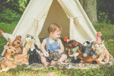 one year old toddler baby first birthday shoot woodland themed deer animals stuffed cute teepee woods forest fairy tale boy pictures photos poses kindred photo and video llc indiana outdoor shots