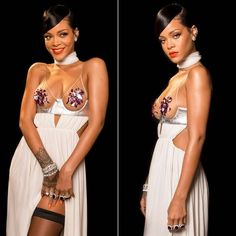 Rihanna at amFAR gala wearing Tom Ford Spring 2015 white gown, Repossi Berbere lilac rhodium ear cuff, Jacob and Co amethyst and diamond rings
