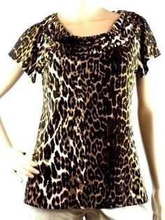 Grace Women's Size S Multi-Color Animal Print Short Sleeve Drape Neck Blouse #Grace #Blouse #Career
