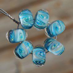 Water Lilies  Set of 7 Encased Lampwork Beads  Dan O by koregon, $24.99
