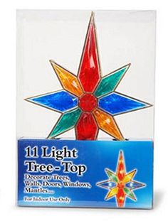 8 Point Multi Colored Bethlehem Star Christmas Tree Topper with 11 Lights -- Want to know more, click on the image.