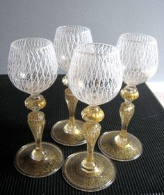 Set of  4 Vintage Italian Murano Venetian Glass Goblets - fit for a queen.