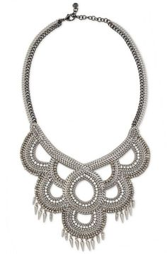 Drape yourself in luxury in our silver collar necklace strung with beads & crystals. Stella & Dot