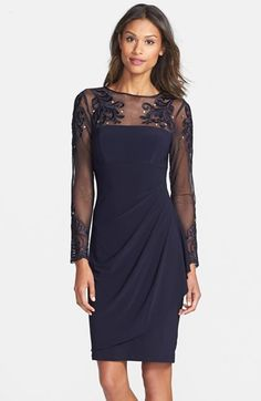 Xscape Evenings Embellished Stretch Sheath Dress - navy cocktail dress