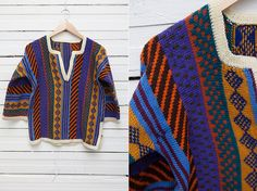 1970's Vintage Hippie Striped Multicolor Poncho by CoverVintage, $35.00
