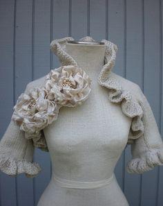 Custom Order Off  White Bridal Bolerothree quarter by deniz03, $114.00
