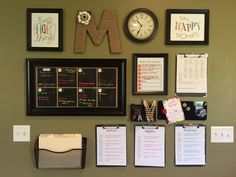 The command center that I added to my kitchen.  There is a place for meal planning, school lunch menu, birthday invites, a huge calendar that I color code for each person, kids chores and paperwork.  A couple of decorative items and motivational quotes and I am done.  We have been using it for about 4 months and everyone loves it!!