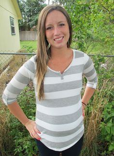 Oh So Comfy Striped Tee in Gray/White by Robins Nest Maternity - Maternity Clothing - Flybelly Maternity Clothing www.flybelly.com