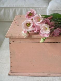 Vintage pink trunk and flowers
