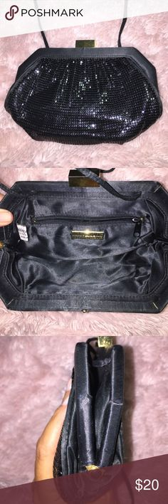 "Vintage Whiting &Black Evening Purse/satin trim Classic Vintage Whiting & Davis Satin Trimmed evening purse with satin shoulder strap. Purse measures approximately 8.5 x 6 inches. Satin strap 44""inches. Drop 22""inches. Minor wear on edges and snap closure. In good condition ❤️ and ready to party. Whiting & Davis  Bags"