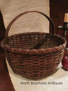 Antique 1800s Folk Art New England Black Ash Splint Woven Basket AAFA in Primitives