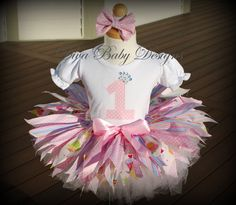 Baby girls first birthday tattered fabric tutu by DivaBabyDesigns