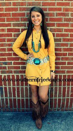 Gold Soft Snap Dress $74.99! #SouthernFriedChics