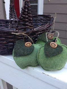 Recycled wool green apple ornament by WoolWooliesshoppe on Etsy