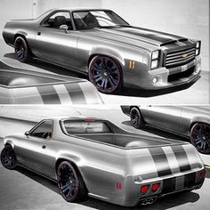 el camino pro touring grey black concave wheels rendering. not a chevelle