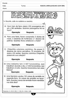 Atividades de Matemática para o 4º ano Spanish Teaching Resources, Teacher Resources, Reading Comprehension For Kids, Apps For Teachers, French Songs, Context Clues, Write It Down, Word Of The Day, Kids Songs