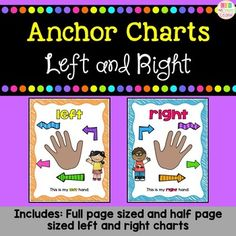 My kindergarteners are constantly forgetting the difference between their left and right hands. So I decided to make these simple anchor chart posters to help them. This file includes 2 different types of posters: -One poster includes both left and right (these posters are half size) and the dir... Beginning Of Kindergarten, Kindergarten Activities, Preschool, Hands On Activities, Activities For Kids, Chicka Chicka, Teacher Inspiration, Left And Right Handed, Type Posters