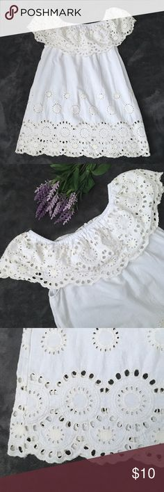 """🆕 Mirror Image Off The Shoulder Scallop Dress White off the shoulder dress from Mirror Image with scalloped hems and cream cutout designs (see photos). Preowned and still in good condition. No stains, rips or tears. 100% cotton  Flaws/issues: Normal wash wear  📏Measurements: 18.5"""" pit to pit (37"""" total), 20.75"""" long from underarms Mirror Image Dresses Mini"""