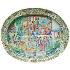 Chinese Export Mandarin Subject Platter  China  1st half 19th Century