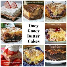 Ooey Gooey Butter Cakes are one of my favorite cakes to bake! You can adapt them into so many different flavors. They make the perfect dessert! Ooey Gooey Butter Cake, Gooey Cake, Butter Cakes, Baking Recipes, Dessert Recipes, Baking Tips, Dinner Recipes, Earthquake Cake Recipes, Pecan Pie Cake
