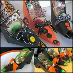 make these cute Witch shoes out of scrapbook paper Tutorial and free template