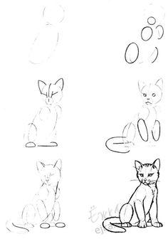 Урок поэтапного рисования карандашом - рисуем котенка