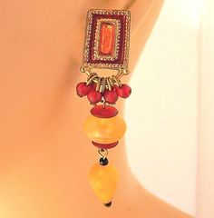 "Vintage Boho Chic Geometric Beaded Statement Earrings Yellow Red Gold Tone 2.5"" #DropDangle"