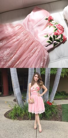 cute short pink lace homecoming dress party dress, strapless pink short lace homecoming dress with floral embroidery