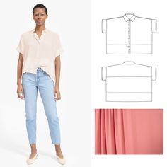 Today's sewing inspiration features our Cottage Shirt pattern and our gorgeous Carnation Pink Crepe fabric. Breezy and Elegant! Easy Sewing Patterns, Clothing Patterns, Pattern Sewing, Vogue Patterns, Vintage Patterns, Sewing Tutorials, Vintage Sewing, Sewing Clothes Women, Diy Clothes