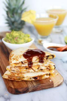 Hawaiian BBQ Quesadillas with Pineapple-Mango Guacamole
