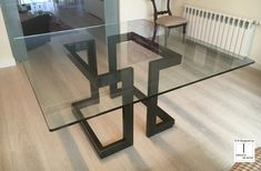 Square glass and iron dining table LISA Glass Top Dining Table, Square Dining Tables, Dining Table Design, Dinning Table, Contemporary Dining Table, Table Decorations, Sidecar, Home Decor, Square Glass Coffee Table