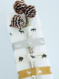 cute wrapping idea with themed washi tape