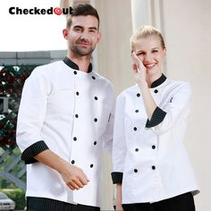Chef jacket 2015 NEW Food Service Long sleeve white Pure color cook chef uniform Men and women use fashion sushi Free shipping