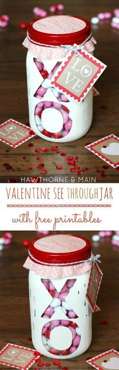 Mason Jar Valentine Gifts and Crafts | DIY Ideas for Valentines Day for Cute Gift Giving and Decor |   Valentine-See-Through-Jar      |  http://diyjoy.com/mason-jar-valentine-crafts