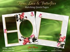 Roses Lace Butterflies on Craftsuprint designed by June Young - Matching pages featuring a lace overlay with red roses and butterflies. These would make nice facing pages in any album. The files are 300dpi .png with transparent backgrounds so you can put your photos/artwork etc into the 'frames' easilly. Commercial use is ok as long as they form part of a flattened file when sold on. These pages can also be reduced for use in card-making. - Now available for download!