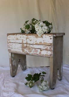 chippy old stool....yes...homemade...old worn and rustic