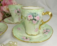 4 Limoges Chocolate Coco Cups Saucers Hand Painted Pink Tea Roses