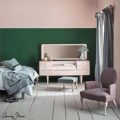 Not all pinks are baby pink! Antoinette is a natural almost earthy pink inspired by Marie Antoinette and Venetian walls. It's not too sweet so it can be used on walls as well as furniture. For a really 'grown up' and sophisticated look, why not pair pink with green? In this bedroom, I used Antoinette next to Amsterdam Green because they're complementary colours. One is strong and deep, the other is light and pretty. #PinkAndGreen #AnnieSloan