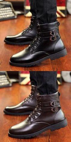 Mens Urban Ankle Strap Casual Boots Trendy Mens Fashion f6e466ddf6