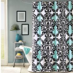 Mia 72-Inch x 72-Inch Shower Curtain - BedBathandBeyond.com  great pattern to use on bathroom window is correct colors
