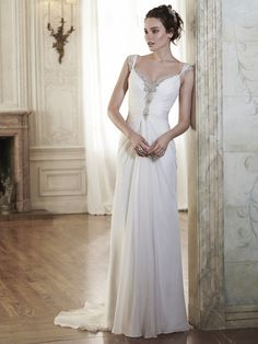 Maggie Sottero - FLORA, This sophisticated Elysium chiffon sheath dress is sweetened with glittering Swarovski crystals trailing the neckline and scalloped back. Complete with Swarovski crystal edged cap-sleeves. Finished with crystal button over zipper closure.