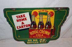 Rare-Vintage-1941-RC-Royal-Crown-Cola-25c-Carton-Soda-Pop-2-Sided-24-034-Metal-Sign Crown Bottle, American Pickers, Soda Bottles, Old Signs, Crown Royal, Advertising Signs, Metal Signs, Vintage Signs, Tins
