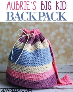 This backpack made for big kids is cute and functional. If your kiddo is lugging lots of books, this bag would also work great as a sleepover bag for a night at a friend's house, or a bag for the beach! #crochet #crochetbackpack #bigkidbackpack #crochetforkids #school #crochetforschool #freepattern #easypattern #diy #forbeginners #sewrella #kidsbackpack #beachbag #kidsbag