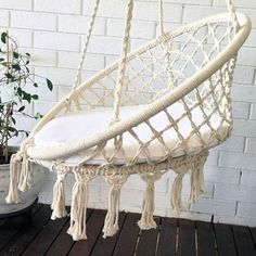 Round Hammock Chair Macrame Swing Round Cotton Home Swing Garden Hammock Garden Hammock, Hammock Swing, Hammock Chair, Diy Chair, Chair Cushions, Macrame Hanging Chair, Macrame Chairs, Diy Hanging, Hanging Chairs