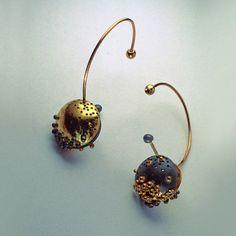 Studio Numen, Margot diCono  designs - Earrings - Secret Nuggets  Patinated Sterling Silver, 22K Gold, 18K Gold, 14K Gold