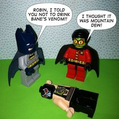 Lego Batman Comic by @legobatman on Instagram. Robin vs Mountain Dew. #lego #batman #thedarkknightrises