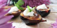 Grilled Figs with Coconut Whipped Cream & Apple Cider Caramel by @paleOMG